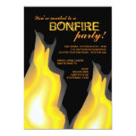 Bonfire Party Campfire Flames on Black Invitation