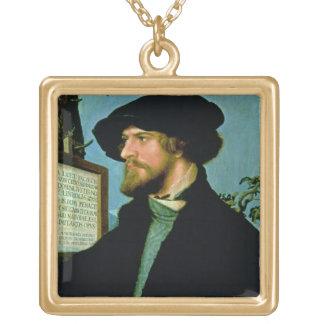 Bonifacius Amerbach, 1519 (oil on pinewood) Square Pendant Necklace