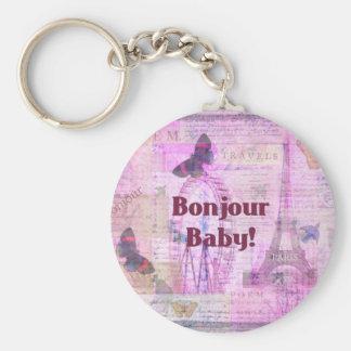Bonjour Baby French Phrase Paris theme Basic Round Button Key Ring