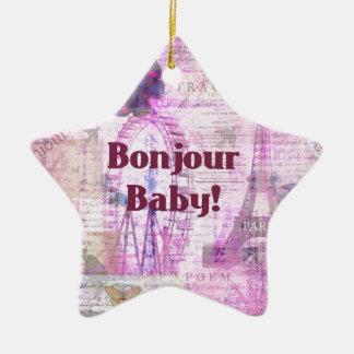 Bonjour Baby French Phrase Paris theme Christmas Ornament