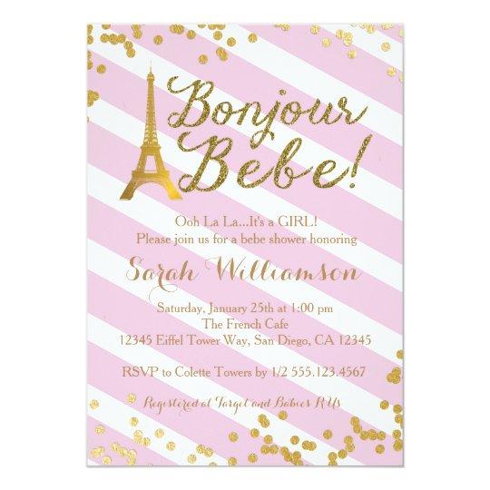 Bonjour Bebe Paris Girl Baby Shower Invitation