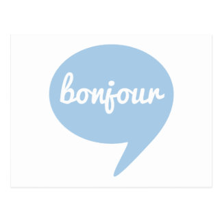 bonjour blue speech bubble, French word art Postcard