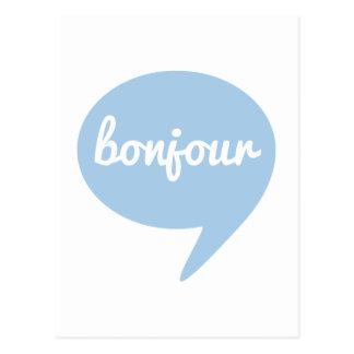 bonjour blue speech bubble, French word art Postcard