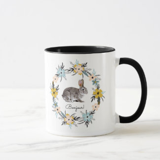 Bonjour! Bunny and Spring Flower Wreath Gift Mugs