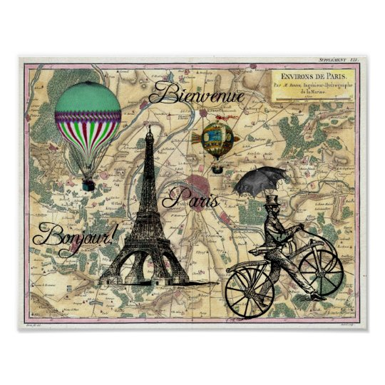 Bonjour De Paris Vintage Map Art Print