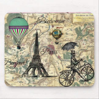 Bonjour De Paris Vintage Map Mousepad