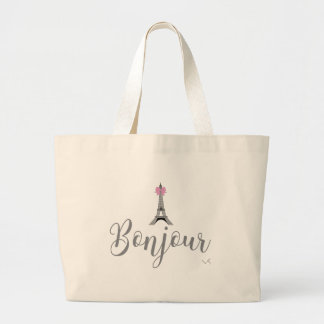 Bonjour-Eiffel Tower Pink Bow Large Tote Bag