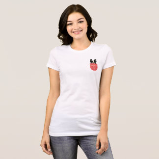 Bonjour French Bulldog in a Pocket T-Shirt