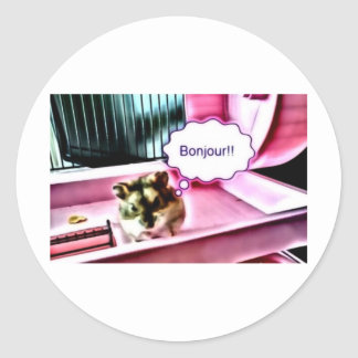 Bonjour Hamster Classic Round Sticker