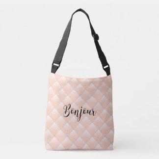 Bonjour Hello Diamond Quilt Pattern Modern Crossbody Bag