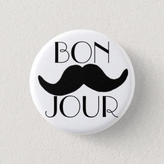 BONJOUR Moustache 3 Cm Round Badge