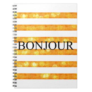 Bonjour Orange Stripe Bokeh Note Book