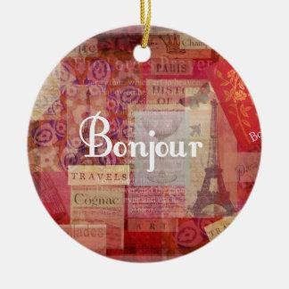 BONJOUR - Paris - France - French - Hello Christmas Ornament