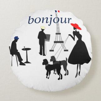 Bonjour Paris Round Cushion