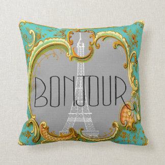 Bonjour Paris Vintage French Eiffel Tower Collage Cushion
