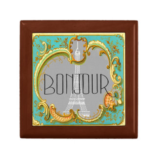 Bonjour Paris Vintage French Eiffel Tower Collage Gift Box