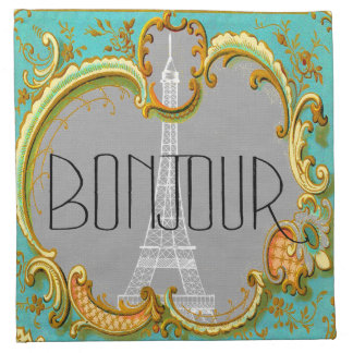 Bonjour Paris Vintage French Eiffel Tower Collage Napkin