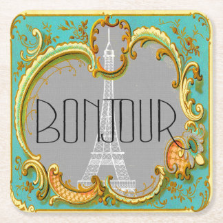 Bonjour Paris Vintage French Eiffel Tower Collage Square Paper Coaster