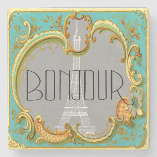 Bonjour Paris Vintage French Eiffel Tower Collage Stone Beverage Coaster