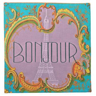 Bonjour Paris Vintage French Eiffel Tower Mauve Napkin