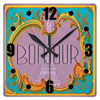 Bonjour Paris Vintage French Eiffel Tower Mauve Square Wall Clock
