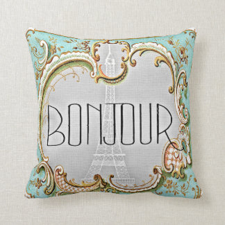 Bonjour Paris Vintage French Eiffel Tower Subtle Cushion