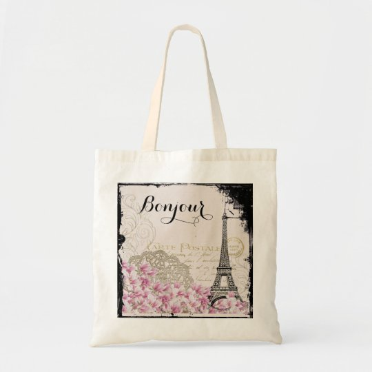 Bonjour Vintage Eiffel Tower Collage with Flowers Tote