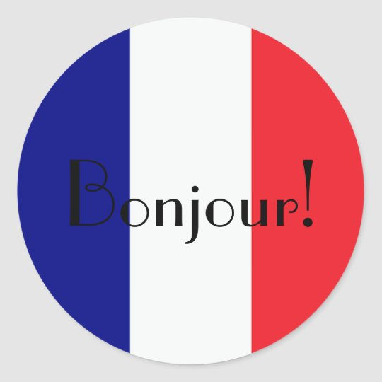 Bonjour with french flag in blue white and