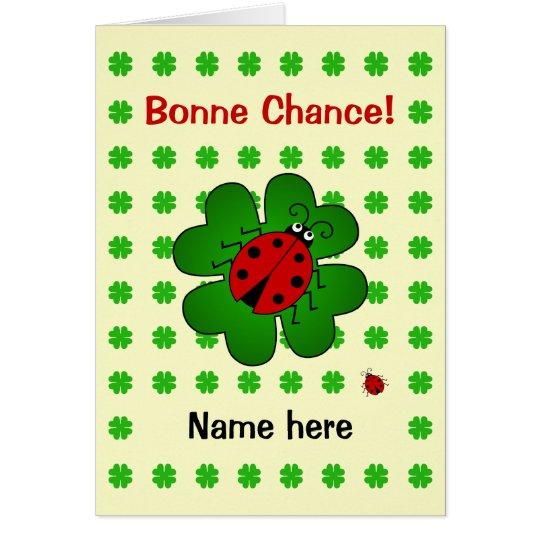 Bonne chance good luck add name ladybird card