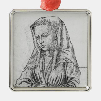 Bonne d'Artois, Countess of Nevers and Rethel Silver-Colored Square Decoration