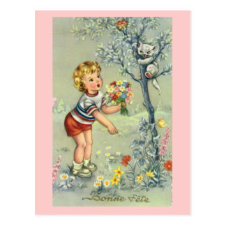 Bonne Fete, French card, Child with flowers Postcard