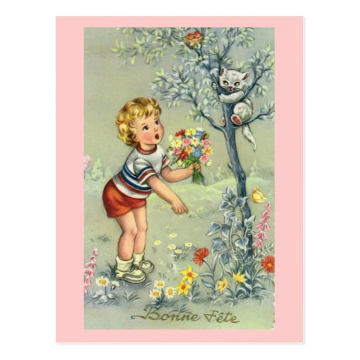 Bonne Fete, French card, Child with flowers Post Card