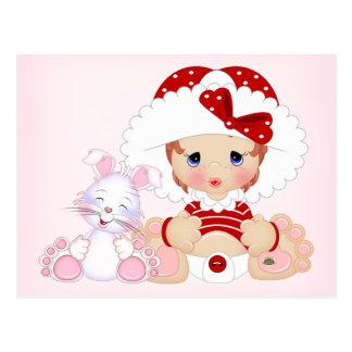 Bonnet Girl with Bunny Postcard