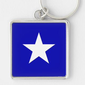 Bonnie Blue Flag Silver-Colored Square Key Ring