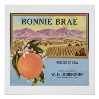 Bonnie Brae Oranges Fruit Crate Label Posters