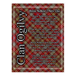 Bonnie Scotland I Adore Thee Clan Ogilvy Tartan Postcard
