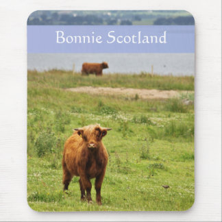 'Bonnie Scotland' with Young Highland Cow Photo Mouse Mat