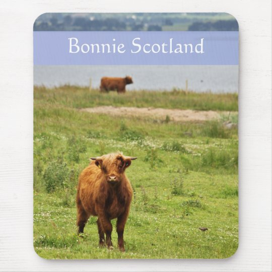 'Bonnie Scotland' with Young Highland Cow Photo Mouse