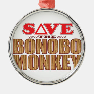 Bonobo Monkey Save Silver-Colored Round Decoration