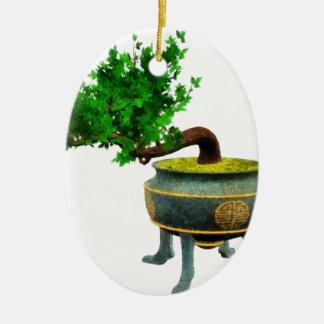 Bonsai 3 ceramic oval decoration