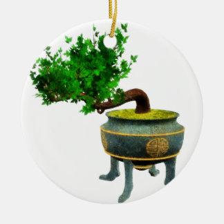 Bonsai 3 round ceramic decoration