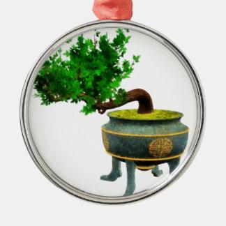 Bonsai 3 Silver-Colored round decoration