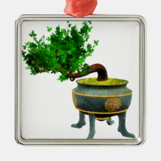Bonsai 3 Silver-Colored square decoration
