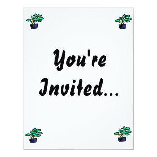 Bonsai Abstract Blue Pot Graphic Image 11 Cm X 14 Cm Invitation Card