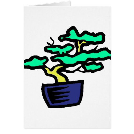 Bonsai Abstract Blue Pot Graphic Image Cards