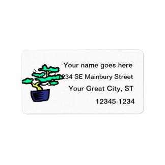 Bonsai Abstract Blue Pot Graphic Image Address Label