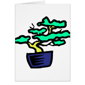 Bonsai Abstract Blue Pot Graphic Image Note Card