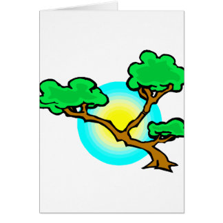 Bonsai Against Sun Abstract Graphic Image Greeting Cards