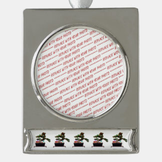 Bonsai Christmas Tree Silver Plated Banner Ornament