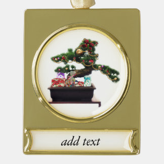 Bonsai Christmas Tree Gold Plated Banner Ornament